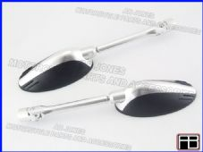 Bare mirrors silver Kawasaki ZX6R 09-10 CNC machined alloy multi adjustable 09